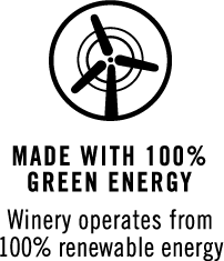 Made with 100% green energy. Winery operates from 100% renewable energy.